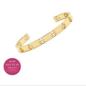 Tory Burch Gold T Logo Pierced Cuff Bracelet